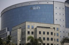 A logo of IL&FS (Infrastructure Leasing and Financial Services Ltd.) is seen on a building at its headquarters in Mumbai