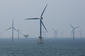 FILE PHOTO: Wind turbines are pictured in RWE Offshore-Windpark Nordsee Ost in the North sea, 30 km from Helgoland, Germany