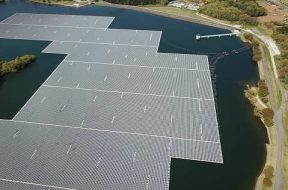 In land-scarce Southeast Asia, solar power panels float on water
