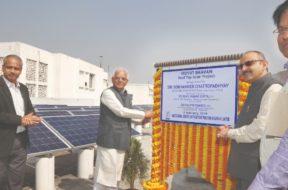 Sobhandeb unveils rooftop solar power plant at Vidyut Bhavan