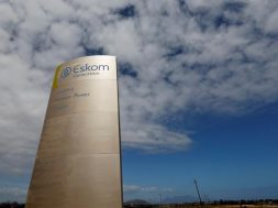 FILE PHOTO: The logo of state power utility Eskom  is seen outside Cape Town's Koeberg nuclear power plant