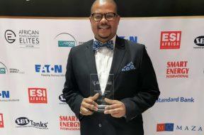 SENER Regional Managing Director in South Africa, Siyabonga Mbanjwa, with the African Utility Week Award