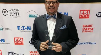 SENER Regional Managing Director in South Africa, Siyabonga Mbanjwa, with the African Utility Week Award