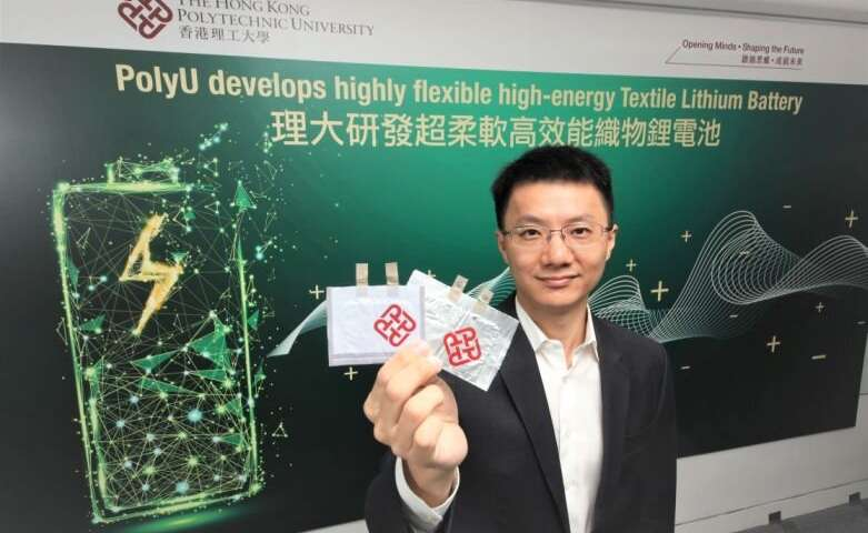 Team develops highly flexible high-energy textile lithium battery for wearable electronics