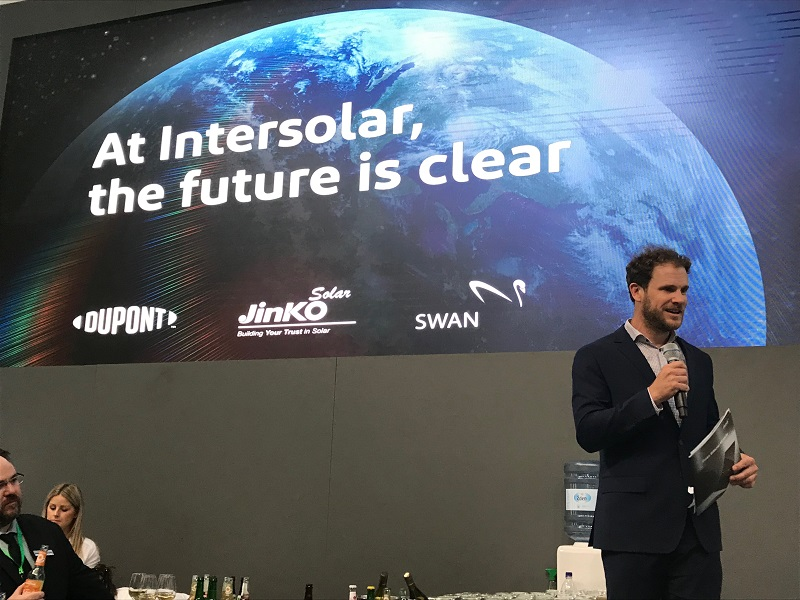 JinkoSolar Officially Launches New Bifacial Module with New Transparent DuPont Backsheet at Intersolar Europe 2019
