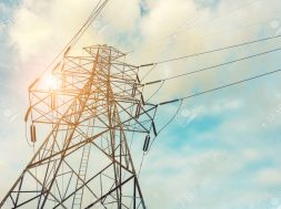High voltage towers on skies background, Transmission line tower