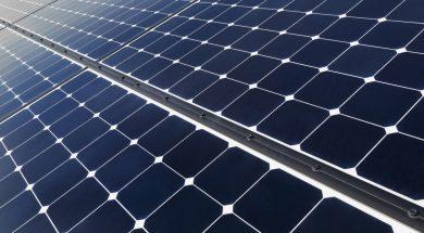 USA, California, Death Valley, Solar panels on desert