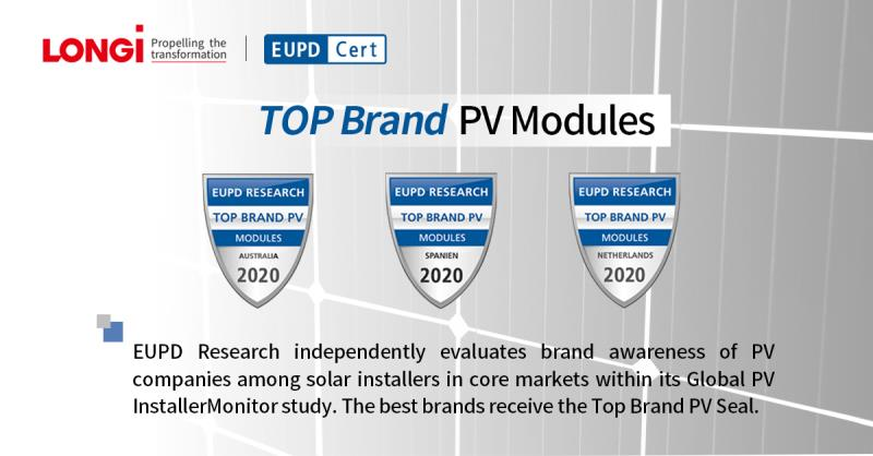 """LONGi Awarded """"Top Brand PV 2020"""" Seal by EuPD Research"""