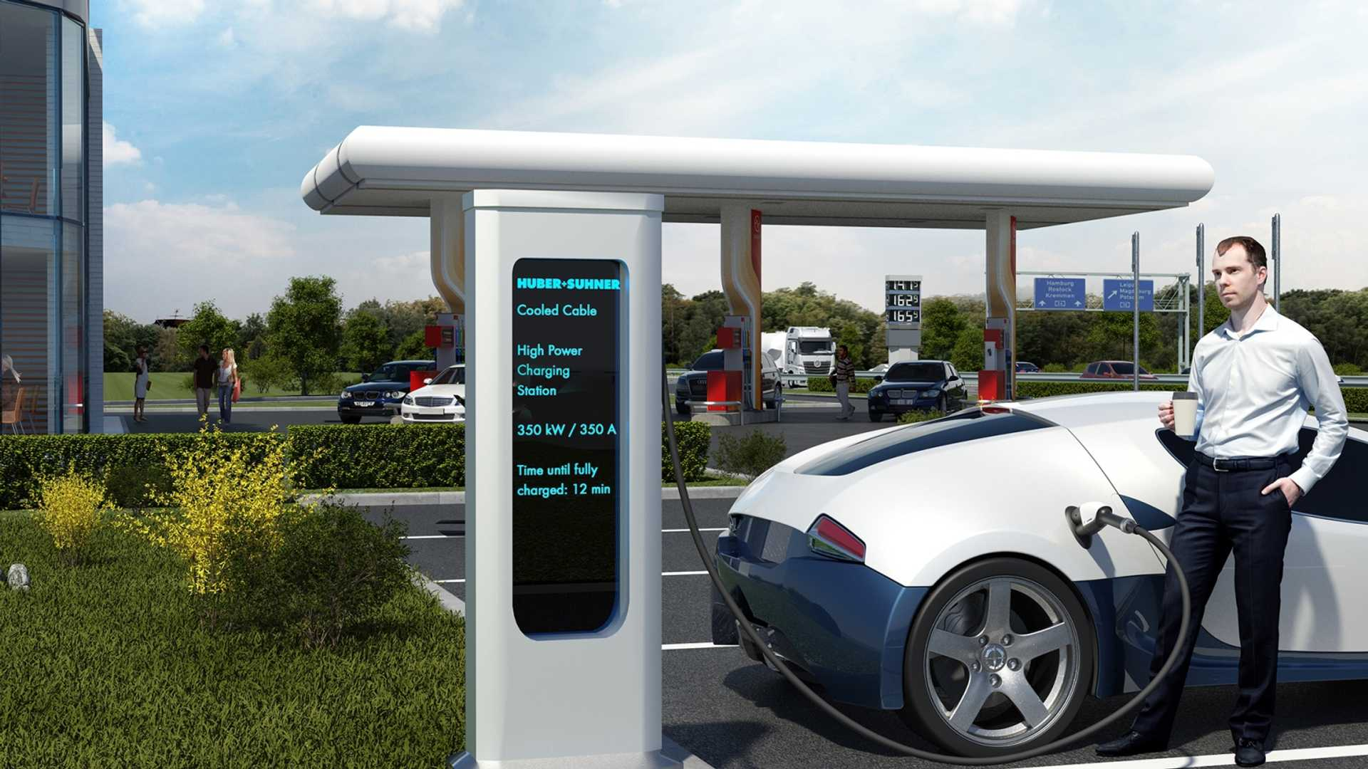 HUBER+SUHNER enables continuous electric vehicle charging at 500 A