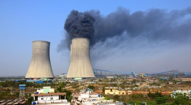 Chandrapur: Smoke billows out of one of the cooling towers after a fire broke out at a thermal power plant in Chanda of Maharashtra's Chandrapur district (some 200 km away from Nagpur) on Feb 9, 2015. (Photo: IANS)