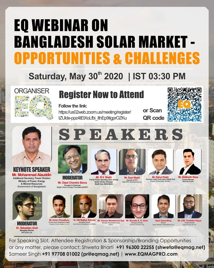 Webinar on Bangladesh Solar Market – Opportunities & Challenges on May 30th from 3:30PM (IST)…Register Now to Attend !!!