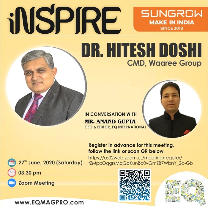 Mr.Hitesh Doshi, CMD at Waaree Group in Live Interview with EQMag's Editor on Thursday June 27th from 3:30 PM…Register Now
