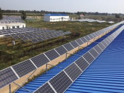 An animal farm covered with silicon solar panels is seen in Hohhot