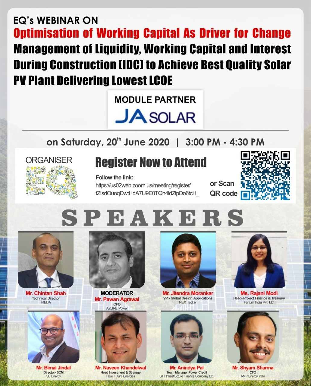 """EQMag & JA Solar Presents Webinar on """"Optimisation of Working Capital as Driver for Change"""" on Saturday June 20th from 3PM Onwards"""