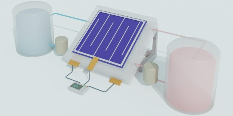 Merging solar cell and liquid battery produces efficient, long-lasting solar storage
