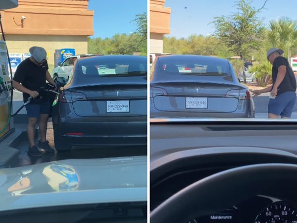 Tesla Model 3 driver tries to fill up electric car with petrol