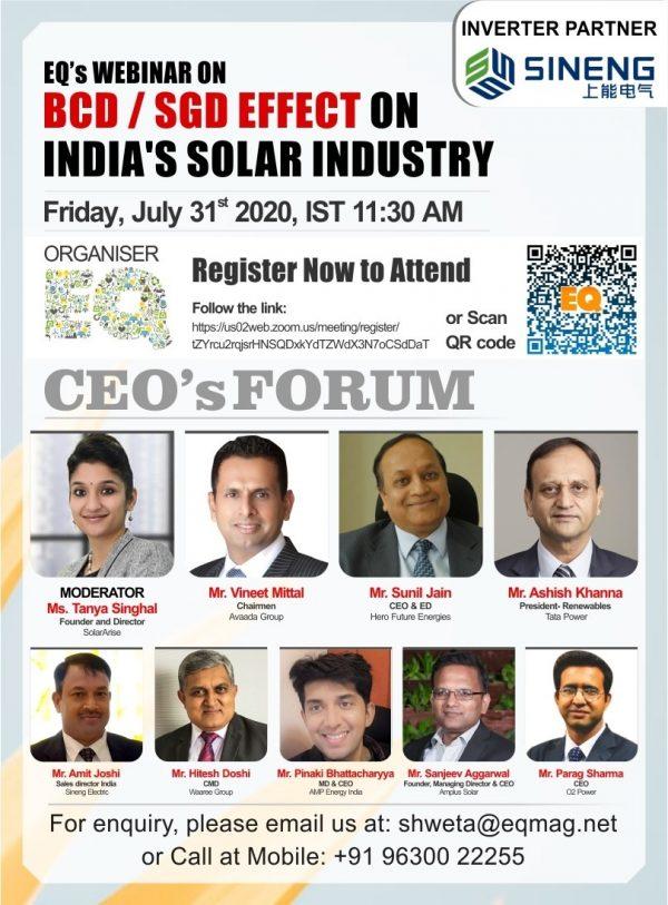 EQ Webinar on BCD / SGD Effect on India's Solar Industry