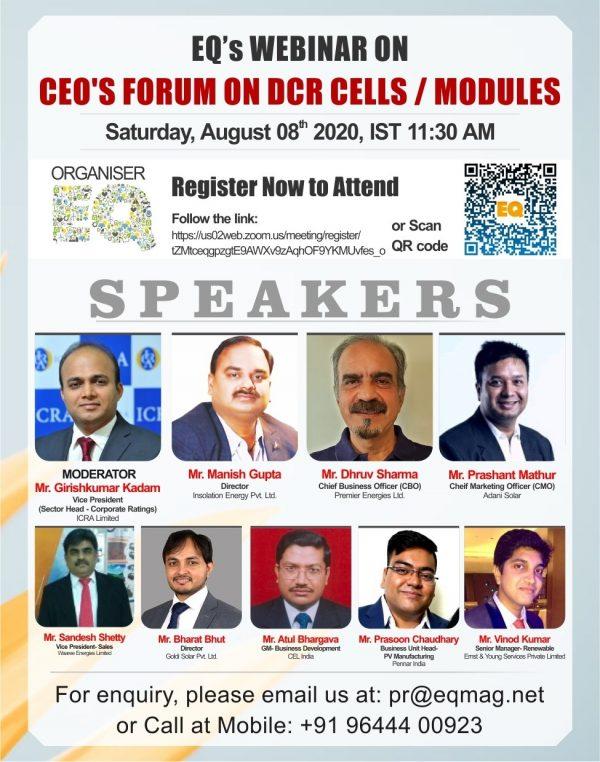 EQ Webinar on CEO's Forum on DCR Cells / Modules