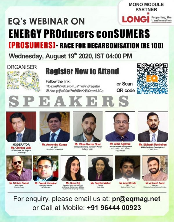EQ Webinar on Energy ProSumers - Race for Decarbonisation (RE 100)