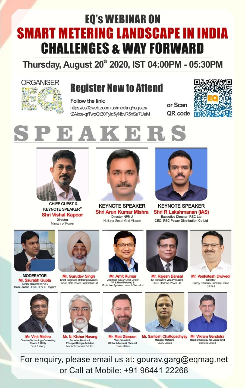 EQ Webinar on Smart Metering Landscape in India on Thursday August 20th from 4PM Onwards….Register Now !!!