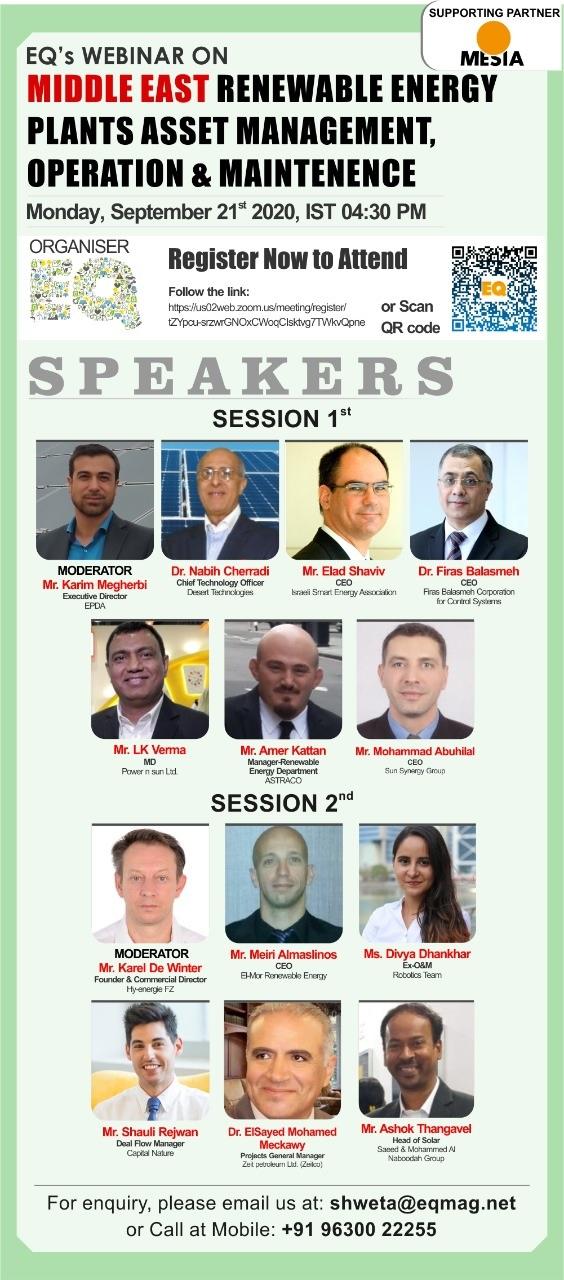 EQ Webinar on Middle East Renewable Energy Plants Asset Management, Operation & Maintenence on Monday September 21st from 04:30 PM Onwards….Register Now !!!
