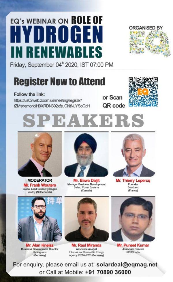 EQ Webinar on Role of Hydrogen in Renewables