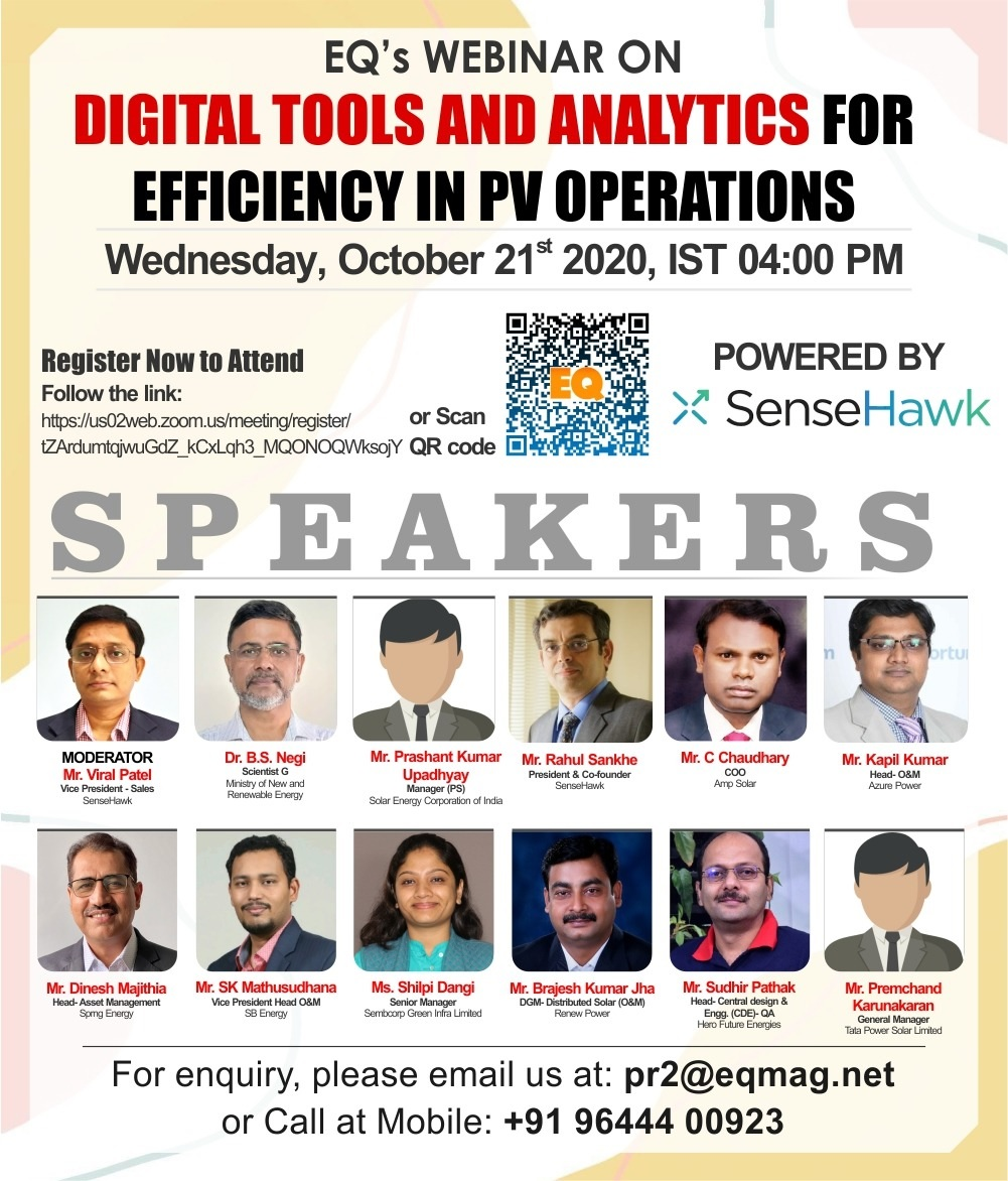EQ Webinar on Digital Tools & Analytics for Efficiency in PV Operations on Wednesday October 21st from 04:00 PM Onwards….Register Now !!!
