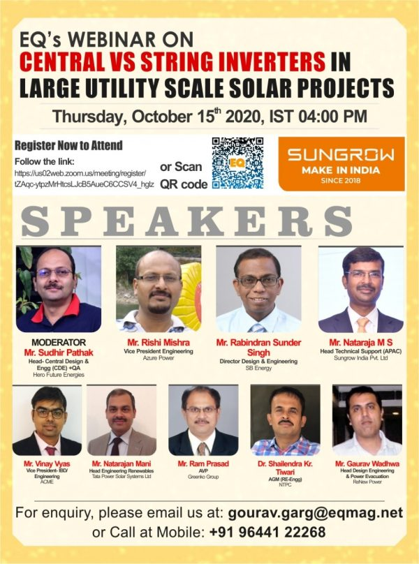 EQ Webinar on Central vs String Inverters in Large Utility Scale Solar Projects