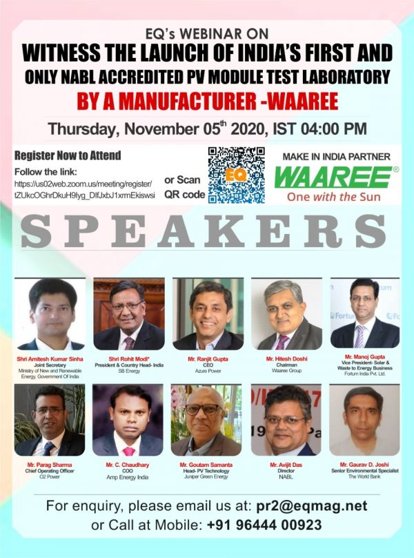 """EQ Webinar on """"Witness the launch of India's first and only NABL accredited PV module test laboratory by a manufacturer -Waaree"""""""