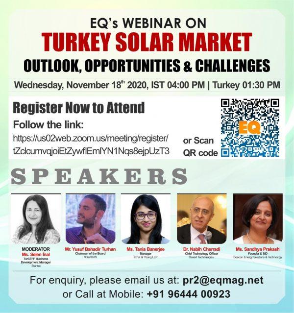 EQ Webinar on Turkey Solar Market Outlook, Opportunities & Challenges