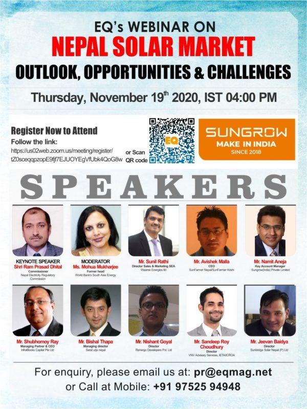 EQ Webinar on Nepal Solar Market Outlook, Opportunities & Challenges