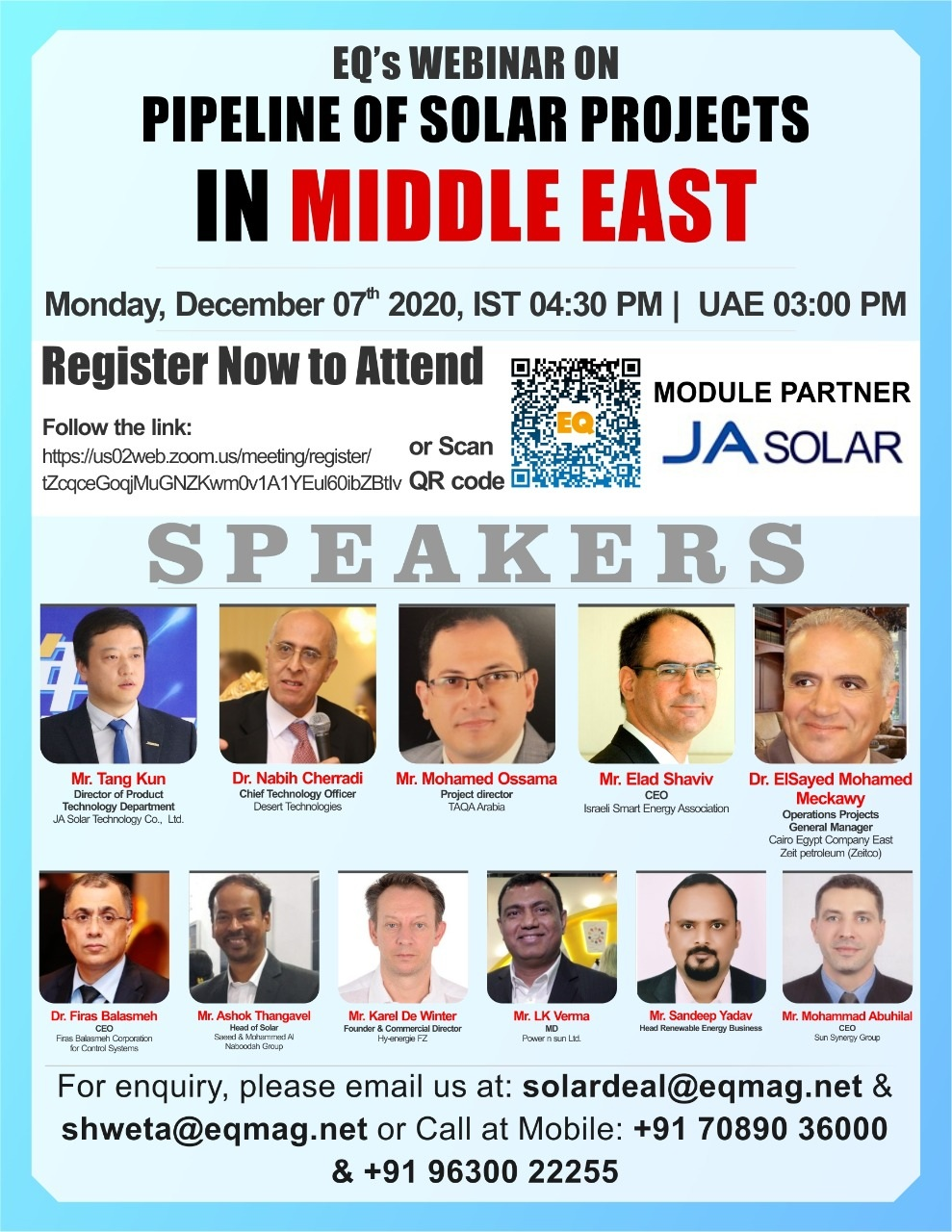 EQ Webinar on Pipeline of Solar Projects in Middle East