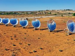 Solar Thermal Power Station with parabolic dish reflectors in outback Australia