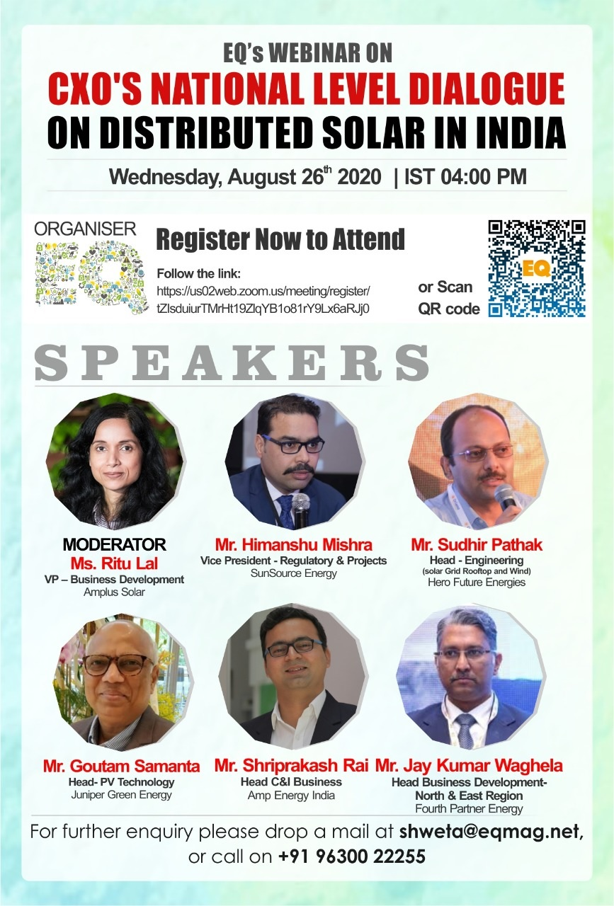 EQ Webinar on CXO's National Level Dialogue on Distributed Solar in India