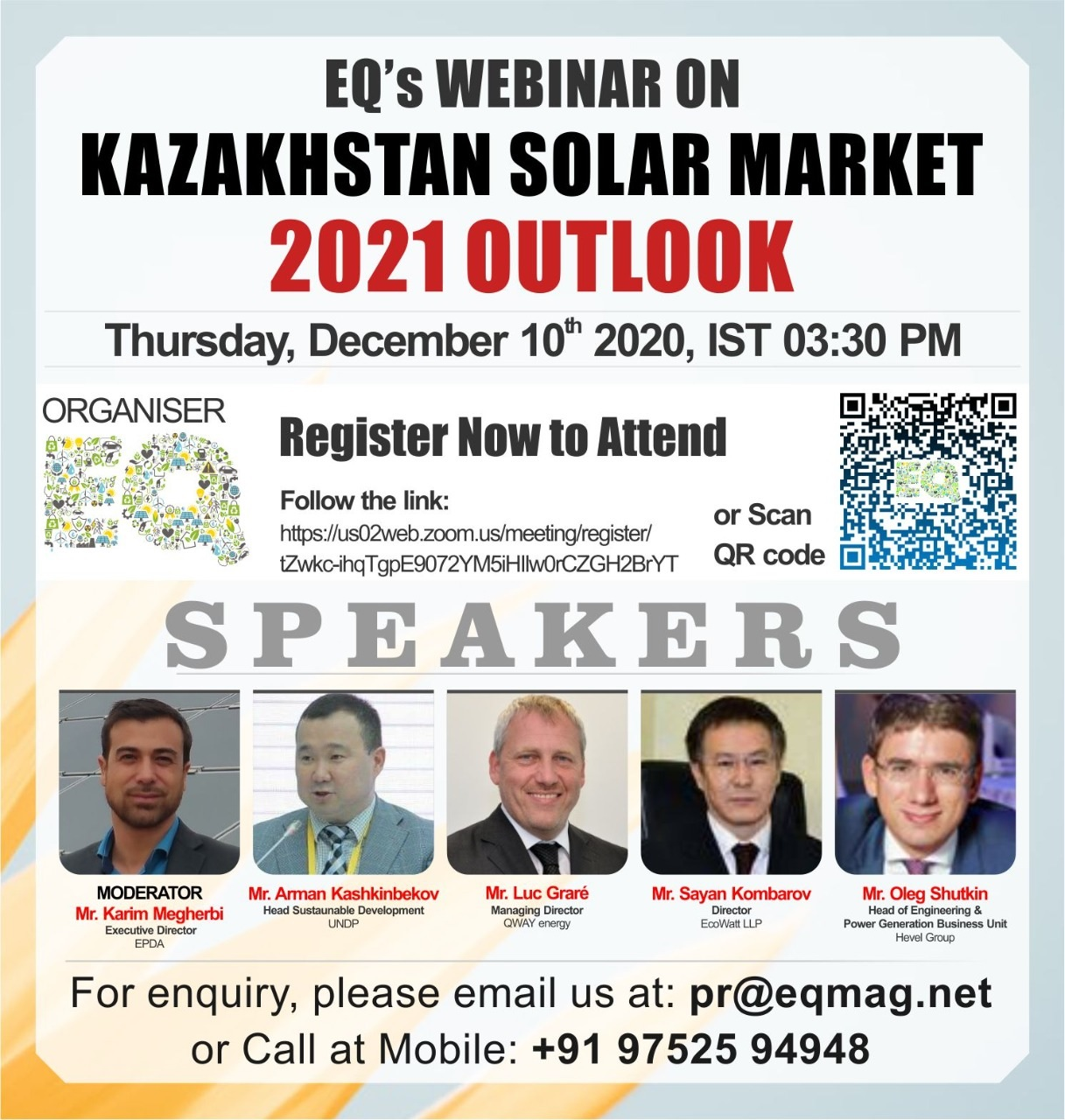 EQ Webinar on Kazakhstan Solar Market 2021 Outlook on Thursday December 10th from 03:30 PM Onwards….Register Now !!!