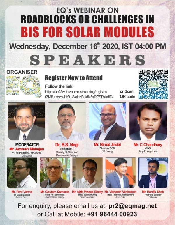 EQ Webinar on Challenges in BIS Certification for Solar Modules