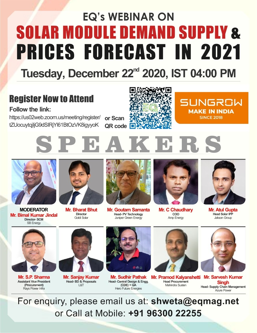 EQ Webinar on Solar Module Demand Supply & Prices forecast in 2021 on Tuesday December 22th from 04:00 PM Onwards….Register Now !!!