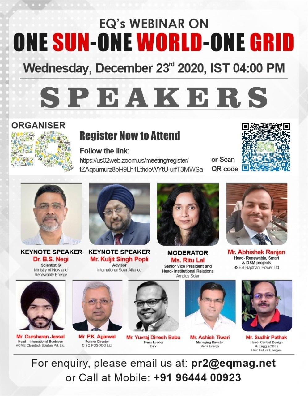 EQ Webinar on One Sun One World One Grid