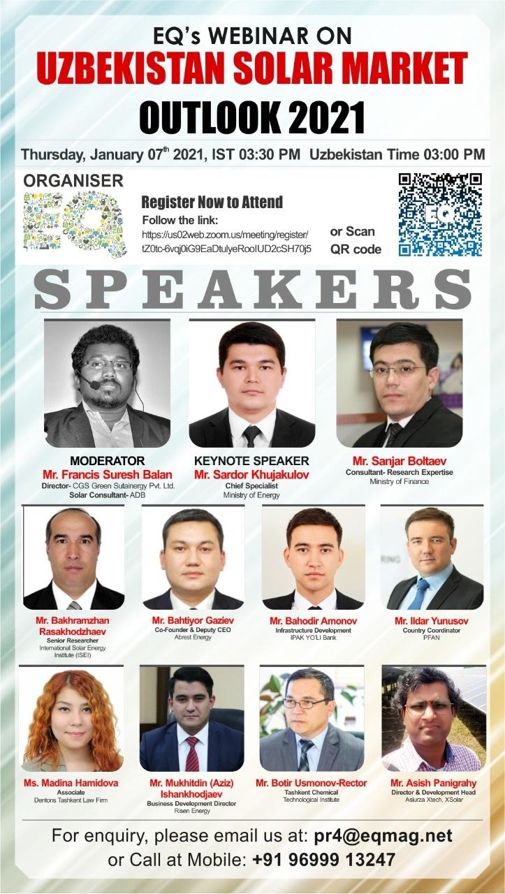 EQ Webinar on Uzbekistan Solar Market 2021 Outlook on Thursday January 7th from 03:30 PM Onwards….Register Now !!!