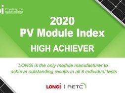 LONGi wins RETC High Achievers award for outstanding module performance