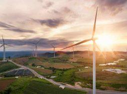Renewable Energy by wind turbine for green energy world.
