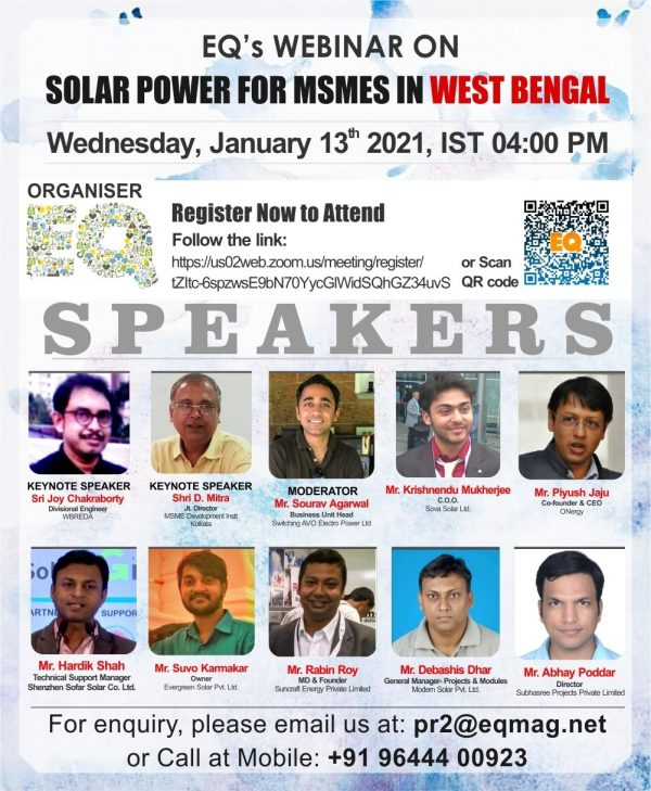 EQ Webinar on Solar for MSMEs in West Bengal
