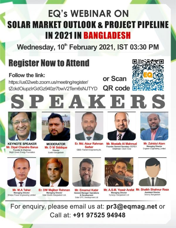 EQ Webinar on Bangladesh 2021 Solar Market Outlook & Projects in Pipeline
