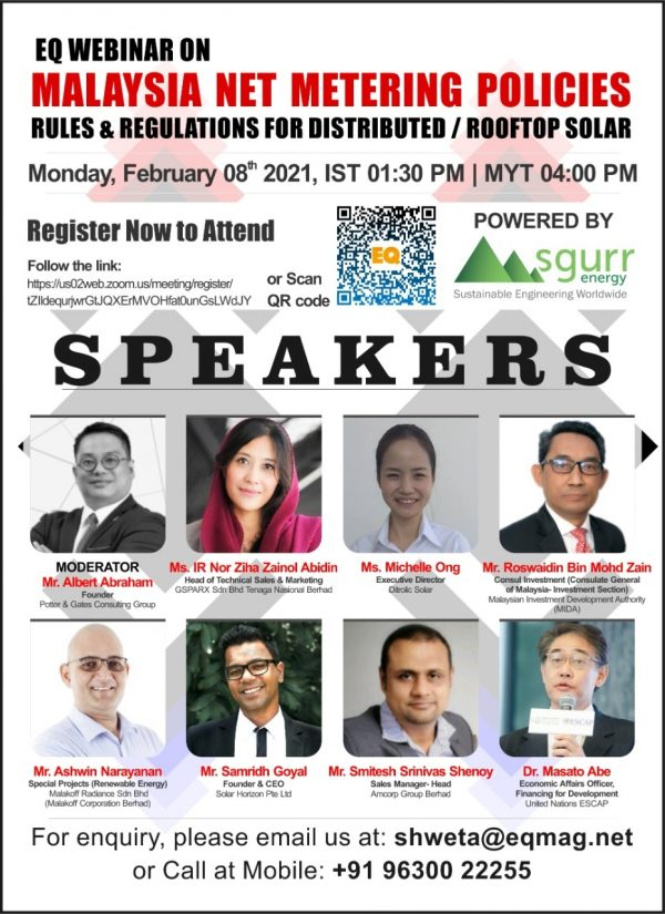 EQ Webinar on Malaysia Net Metering Policies, Rules & Regulations for Distributed / RoofTop Solar