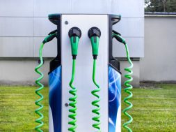 Front,View,Of,Electrical,Car,Charging,Station,In,The,City.