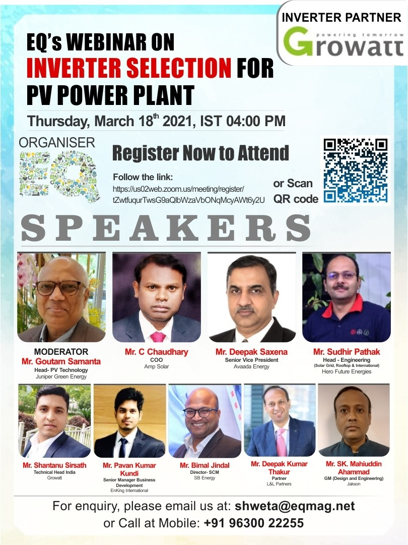 EQ Webinar on Inverter Selection for PV Power Plant on Thursday March 18th from 04:00 PM Onwards….Register Now !!!