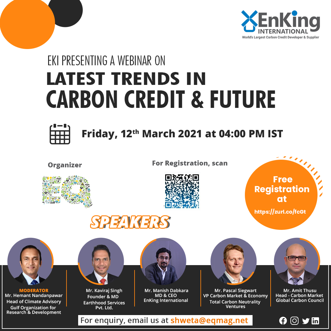 EQ Webinar on Latest Trends in Carbon Credit & The Future on Friday March 12th from 04:00 PM Onwards….Register Now !!!