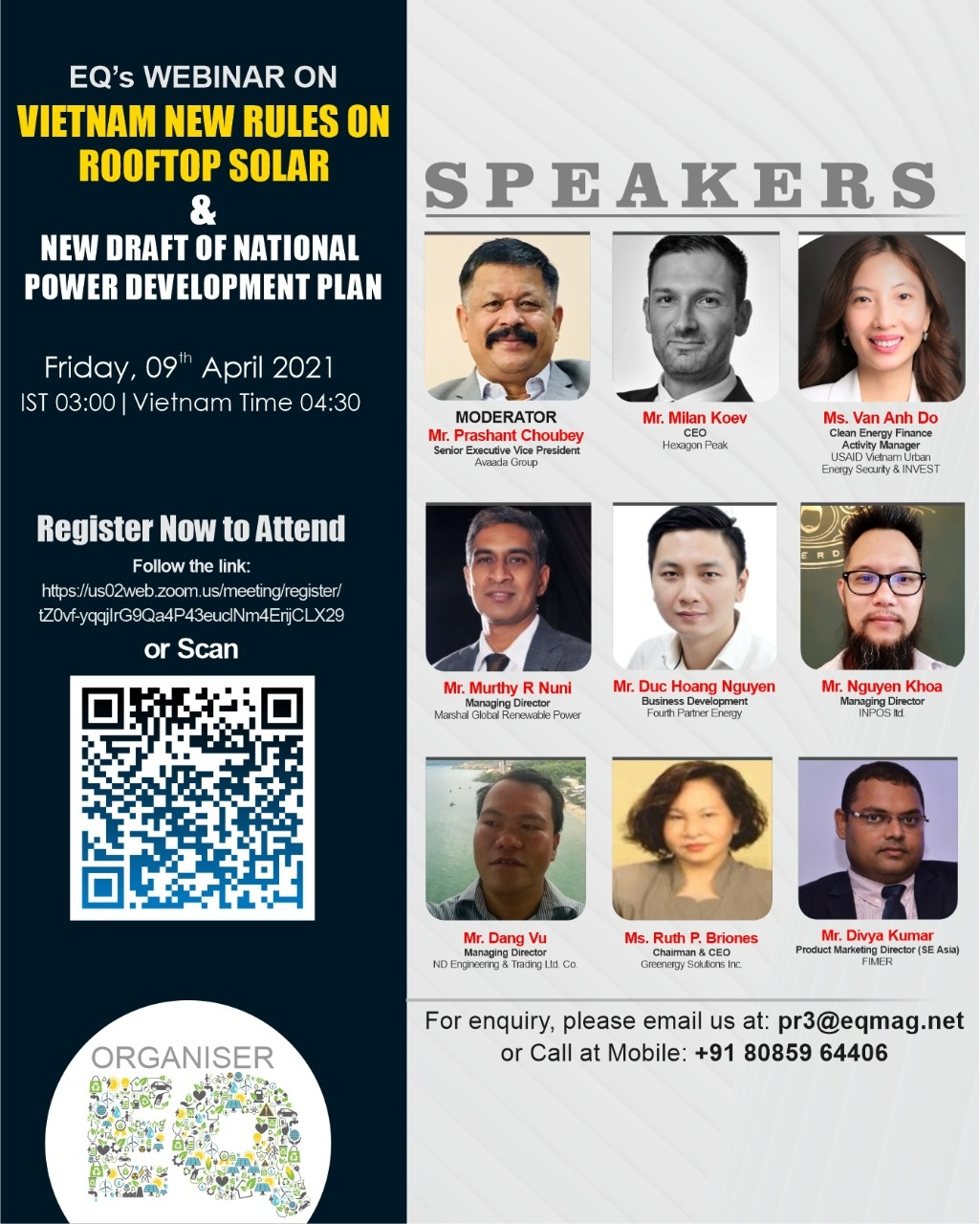 EQ Webinar on Vietnam New Rules on RoofTop Solar & New Draft of National Power Development Plan on Friday April 09th from 03:00 PM Onwards….Register Now !!!