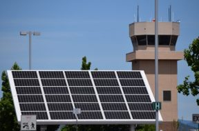 Industrial,Solar,Panel,With,Air,Traffic,Control,Tower
