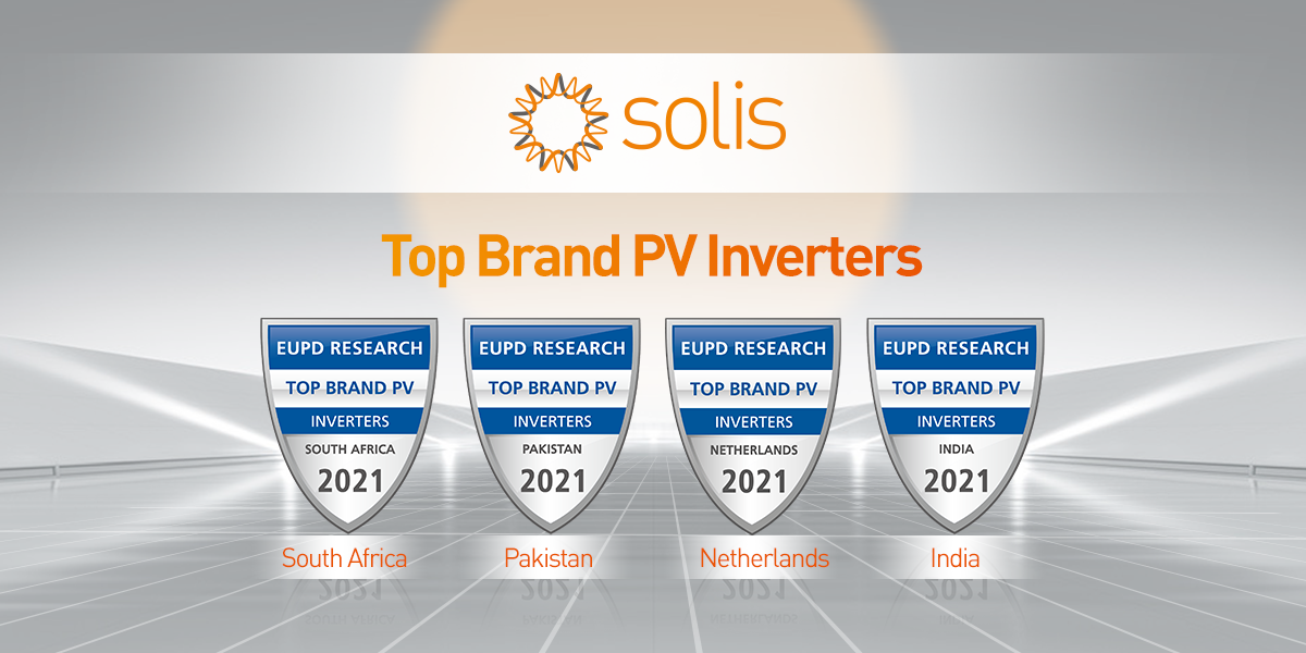 Solis Inverters honoured with the Top Brand PV 2021 Award for inverter manufacturers in South Africa, Pakistan, Netherlands and India